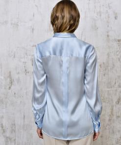 Blouse silk blue back