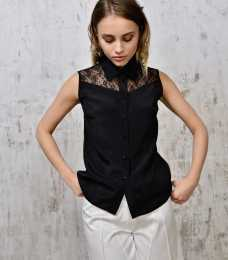 Lace-paneled silk shirt 1