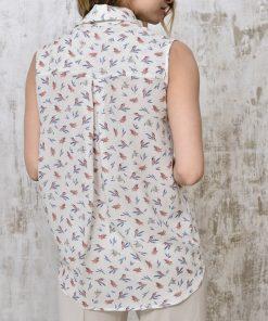 Silk blouse birds back