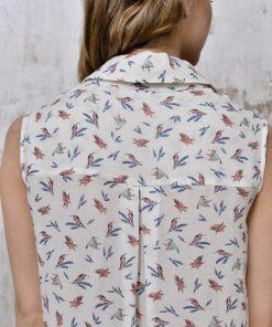 Silk blouse birds big