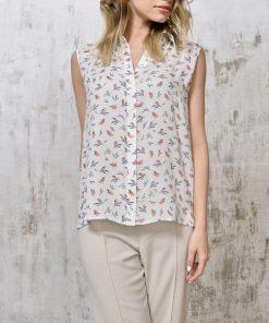 Silk blouse birds