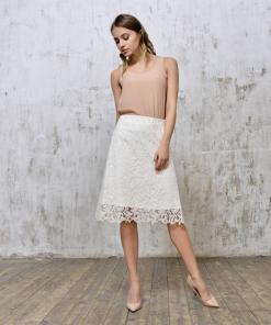 Skirt-white–lace-&-Beige-Tank