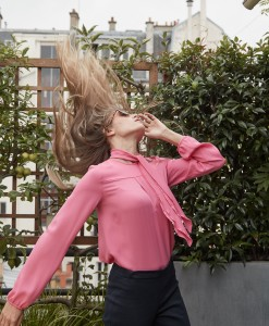 pink blouse silk