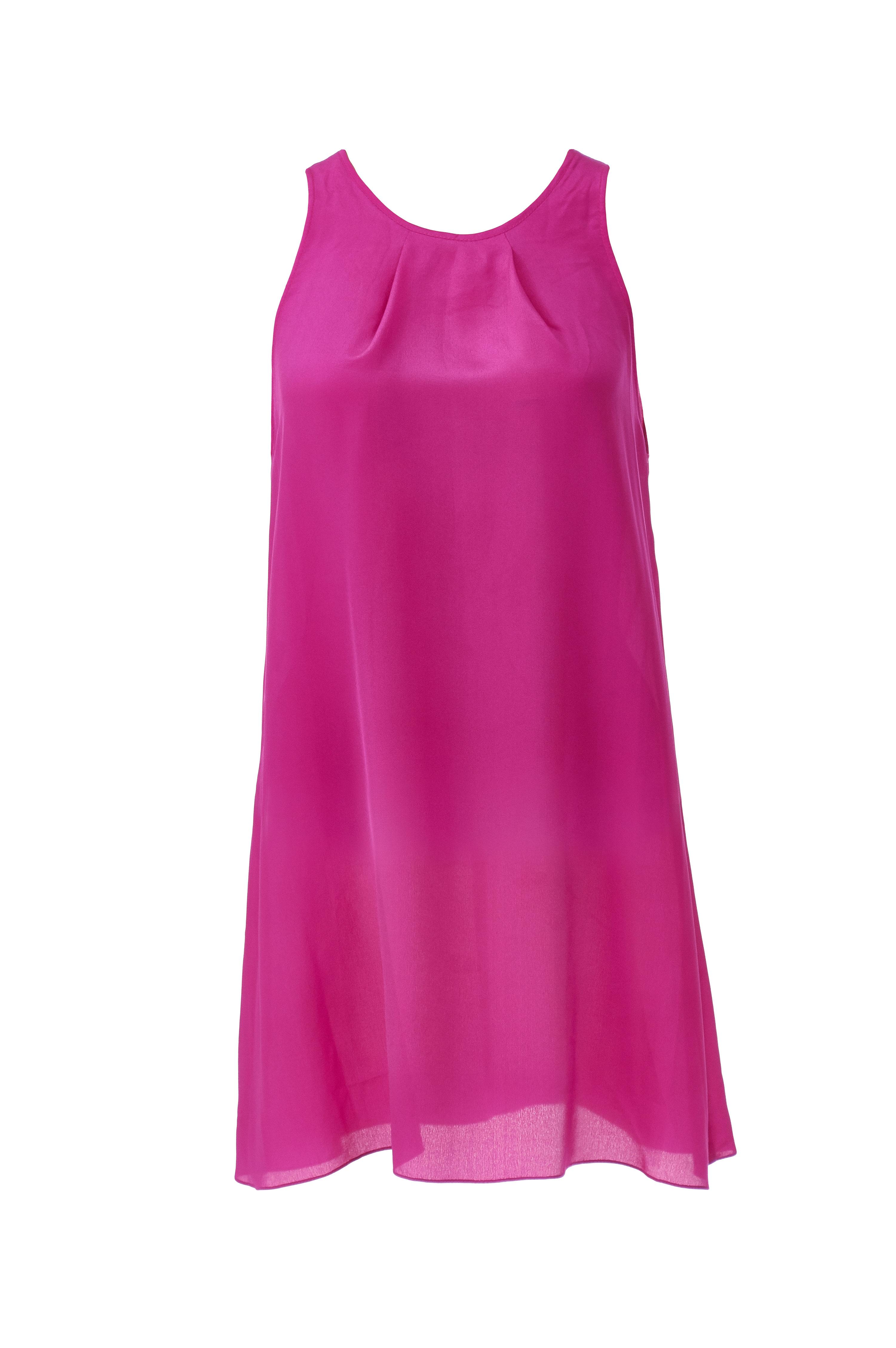 Long Fuchsia Chiffon Dress