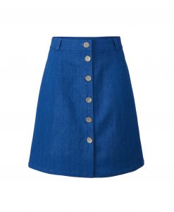 Denim skirt with a row of polished buttons