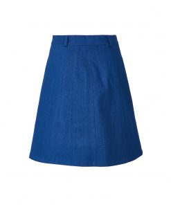 Denim skirt with a row of polished buttons back