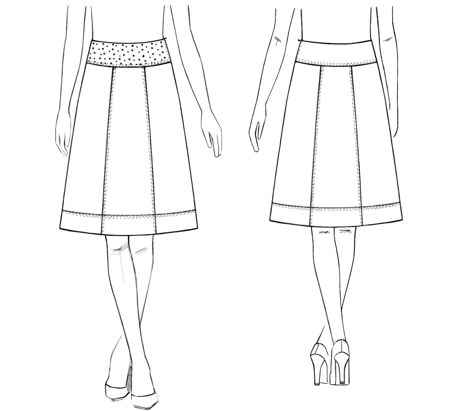 Skirt above the knee pearls at the top