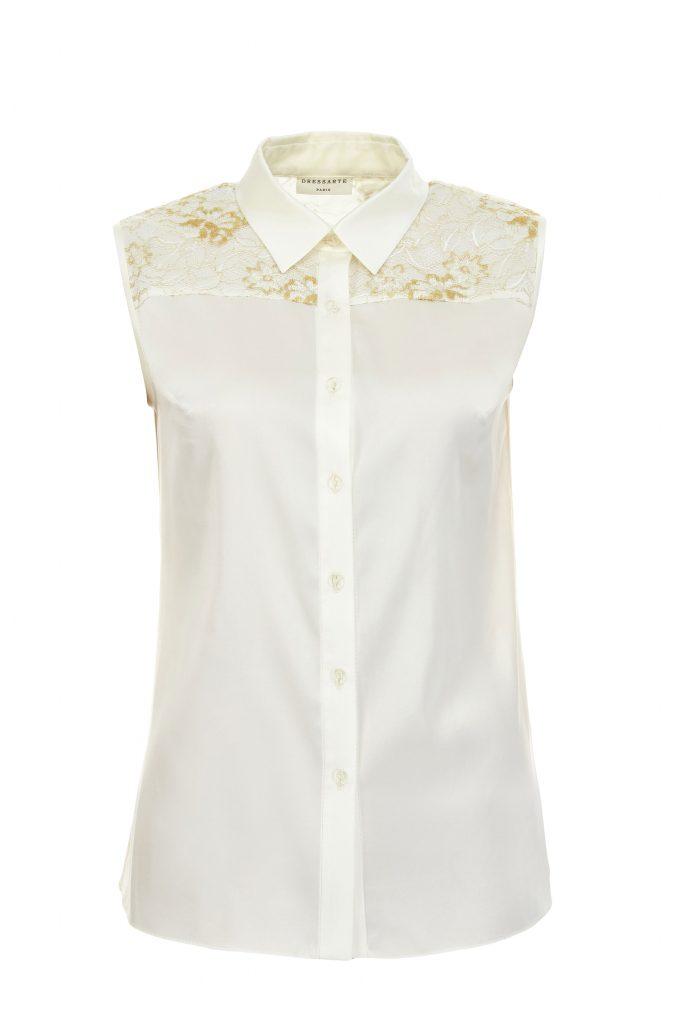 58c9f903d3 Gold lace silk blouse from Dressarte Paris